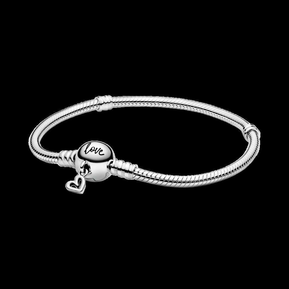 Срібний браслет із підвіскою у формі серця