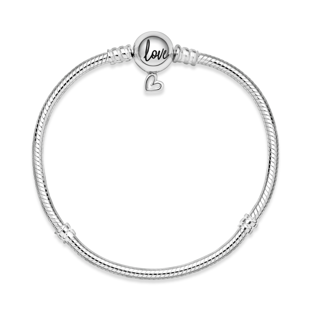 Срібний браслет із підвіскою у формі серця — фото 2