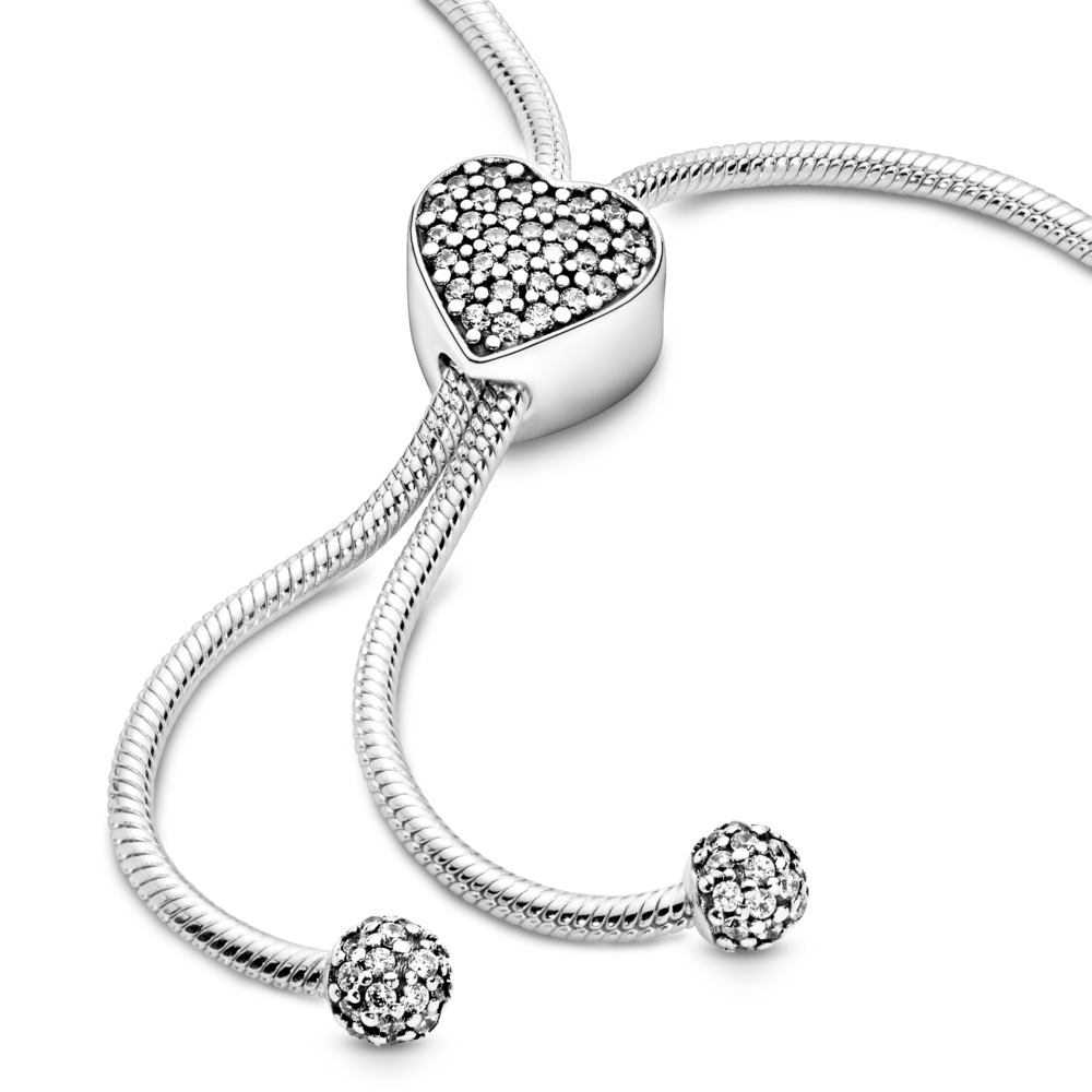 """Срібний браслет """"Серце та Pave"""""""