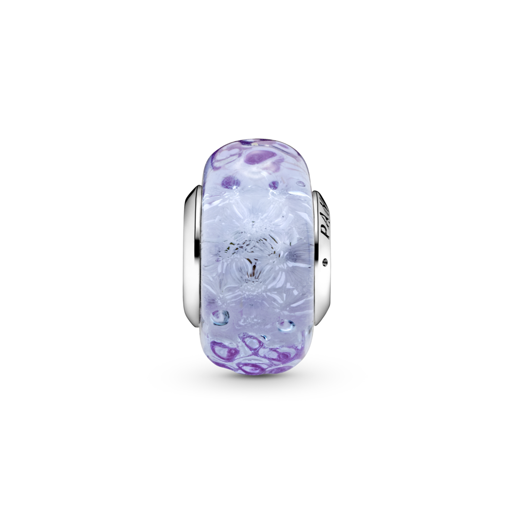 Хвиляста намистина зі склом Мурано лавандового кольору