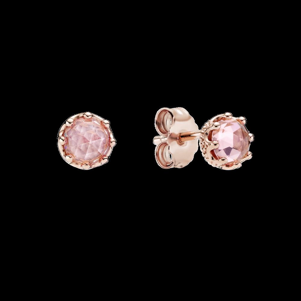 Сережки з короною та рожевим каменем