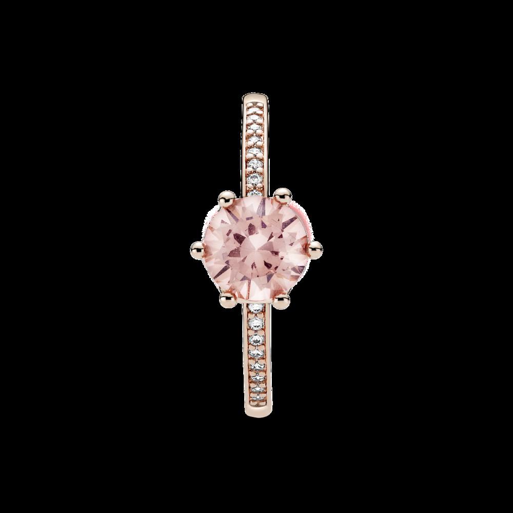 Каблучка з короною та рожевим каменем