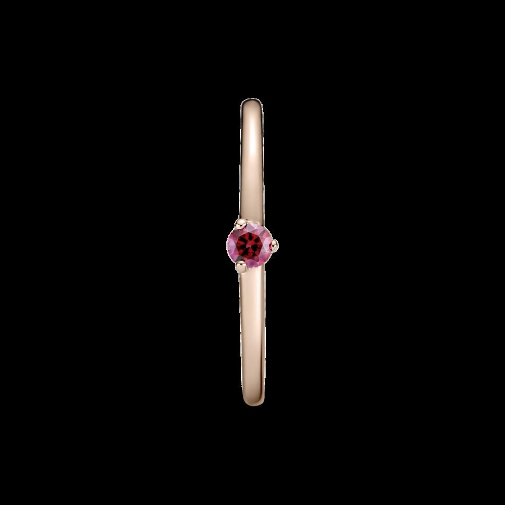 Каблучка-солітер із червоним камінцем