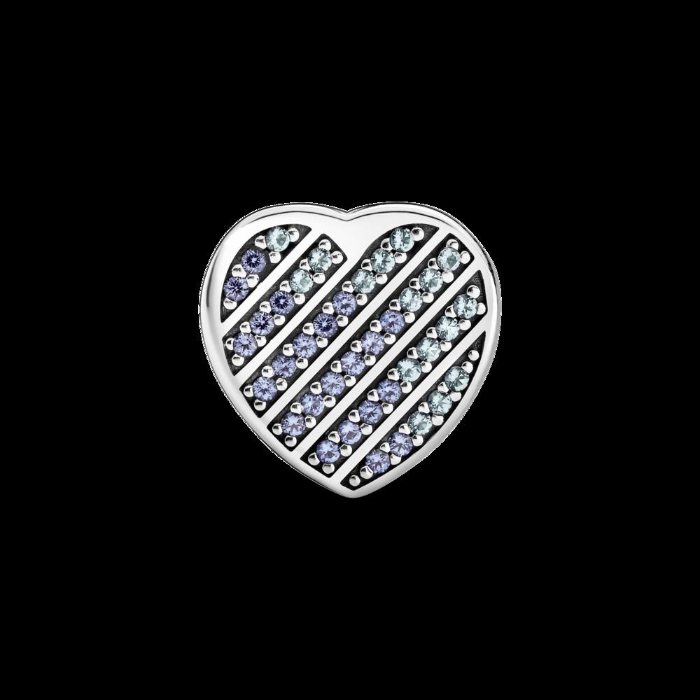 """Намистина """"Серце з блакитним pavé"""""""