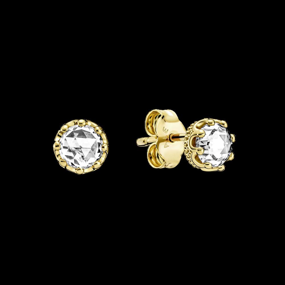 Сережки з короною та прозорими камінцями