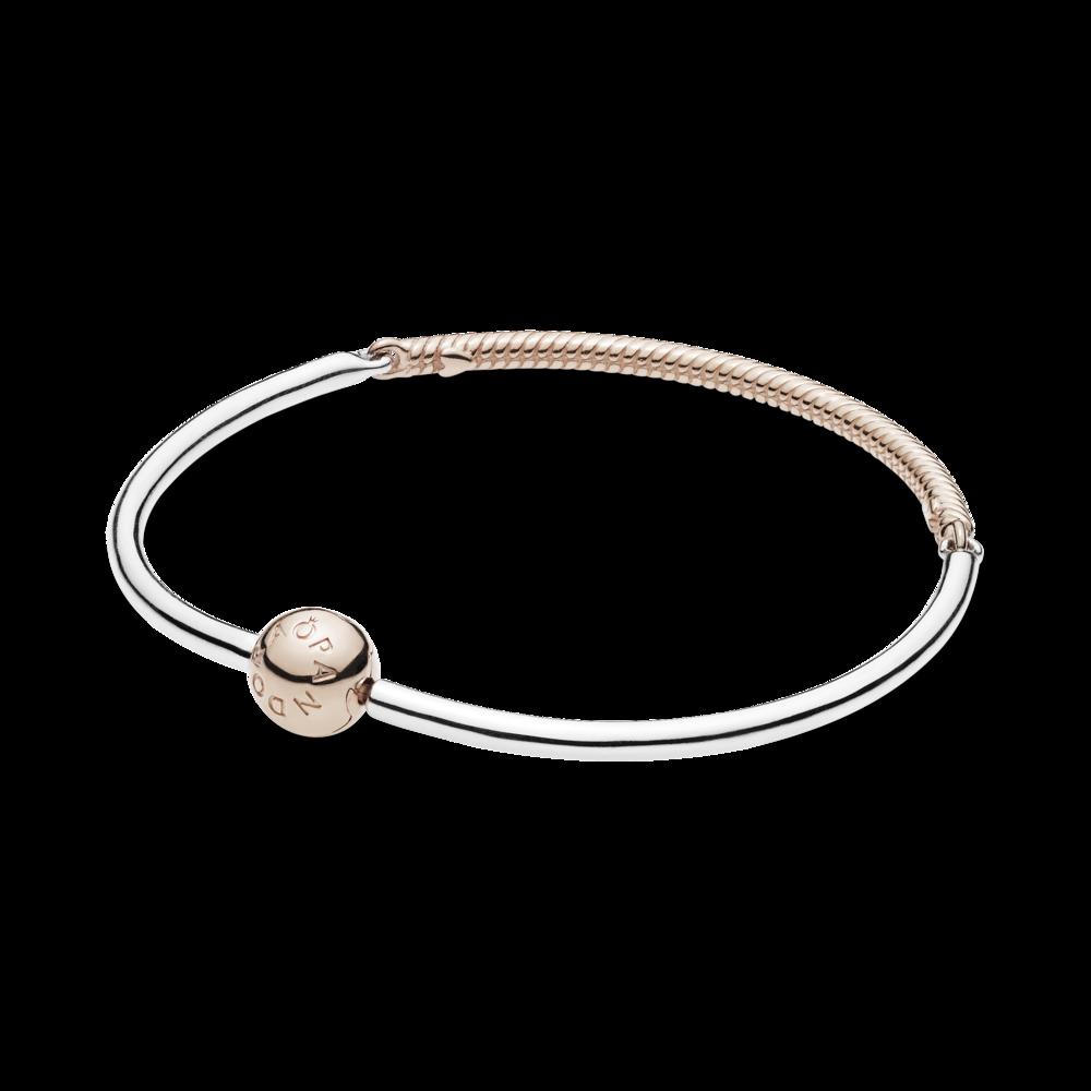 Срібний браслет із застібкою та вставкою PANDORA Rose